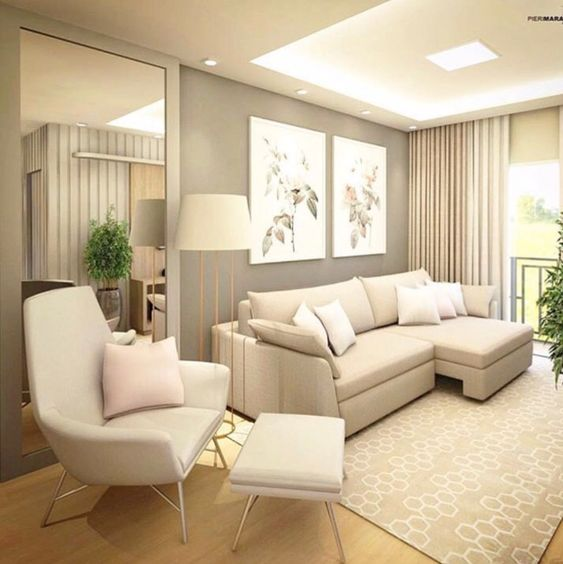 Paleta neutra compõe a sala de estar moderna.