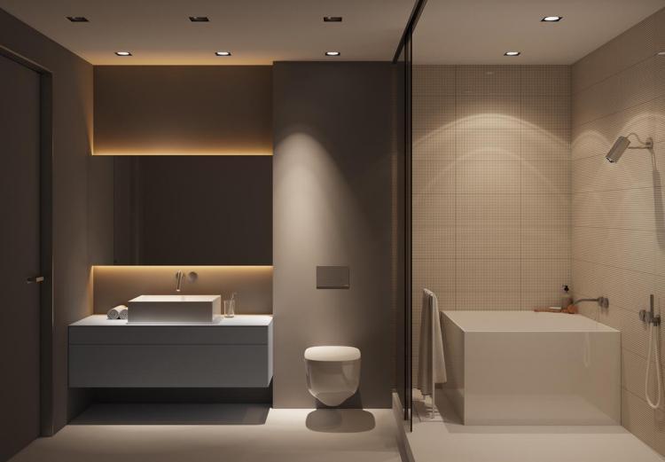 Banheiro com forro de gesso.