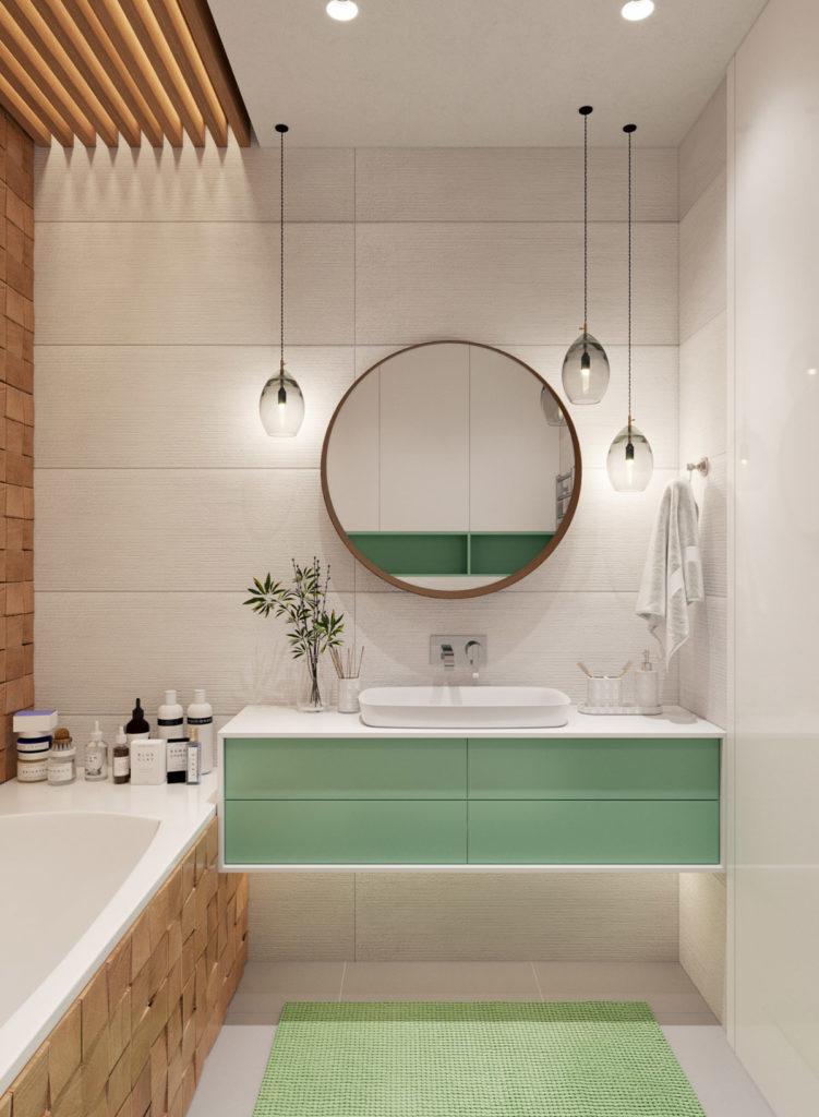 Banheiro com acabamento de gesso.