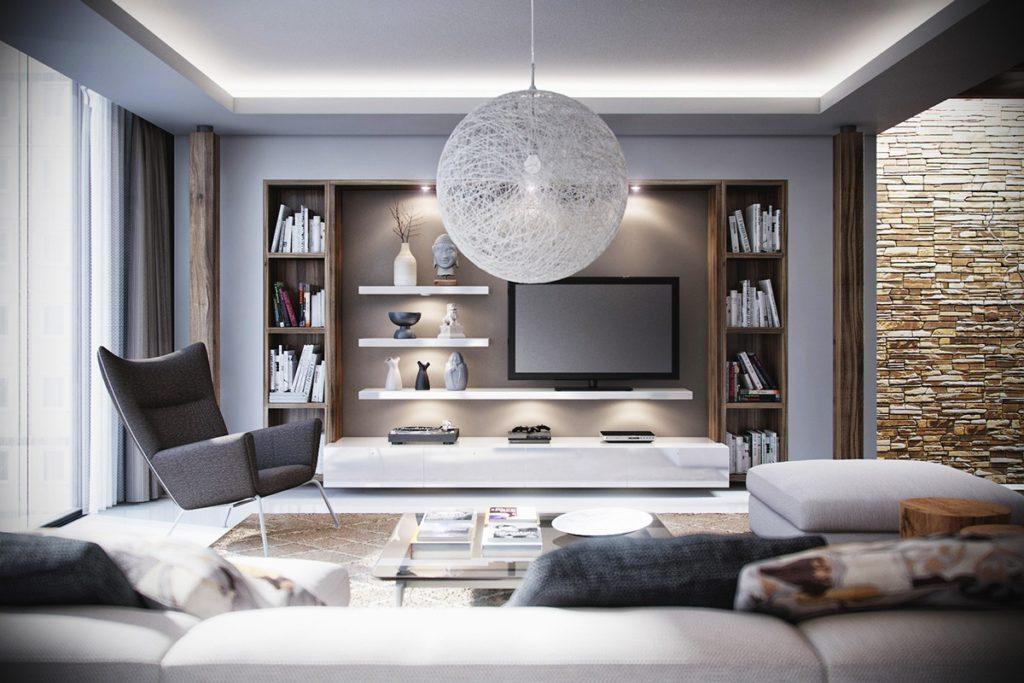 Sala de estar com iluminação indireta.