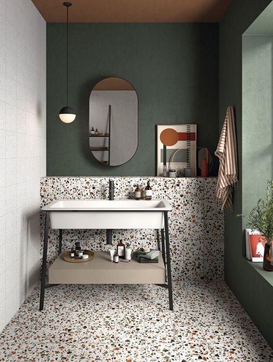 Banheiro contemporâneo. Sem armários planejados somente com uma cuba retangular.