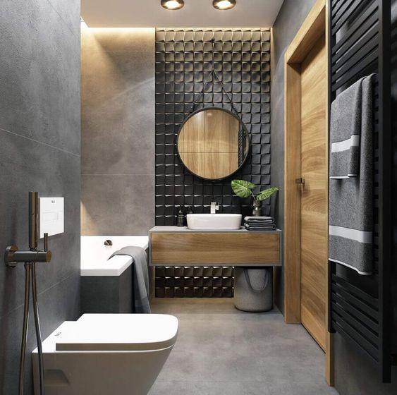 Banheiro moderno na cor cinza e com revestimento preto em 3d.