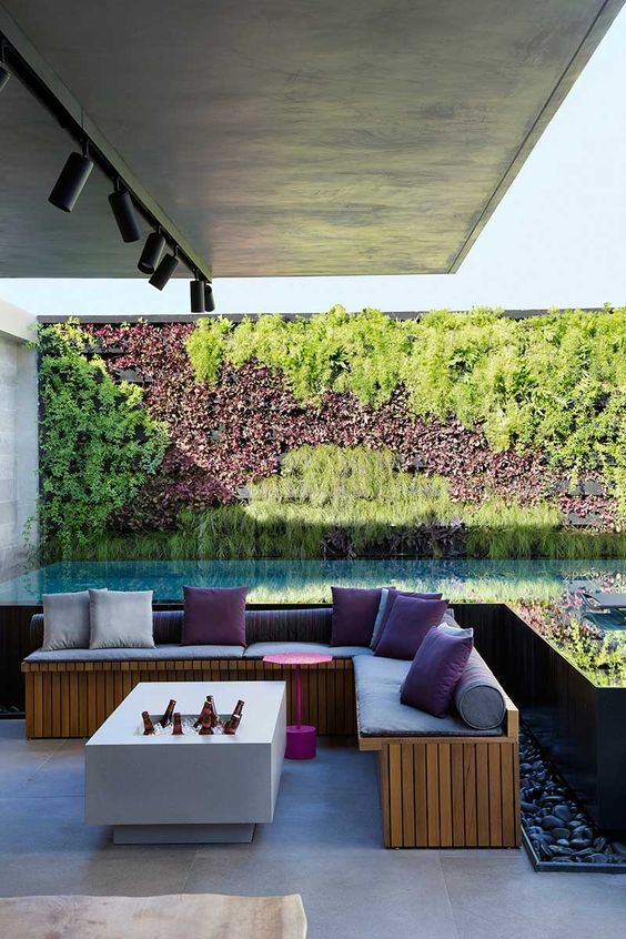 Piscina com jardim vertical.