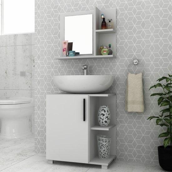 Banheiro simples com cuba redonda branca.