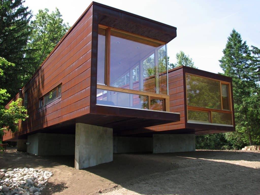 Casa pré-moldada de um andar.
