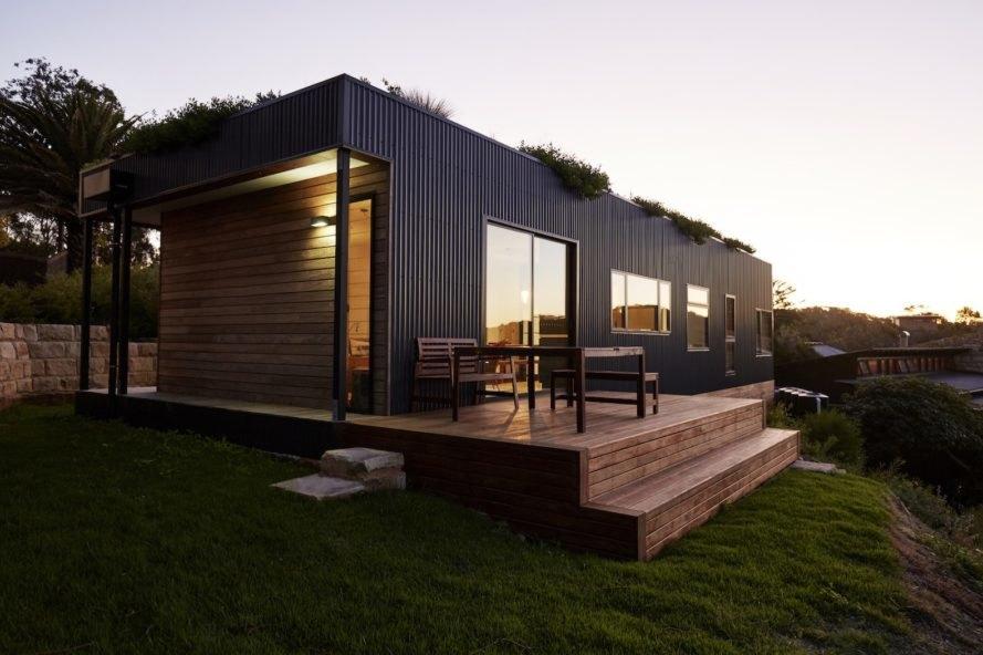 Casa com teto verde.