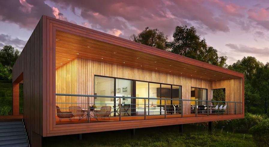 Casas de madeira podem trazer um visual moderno.