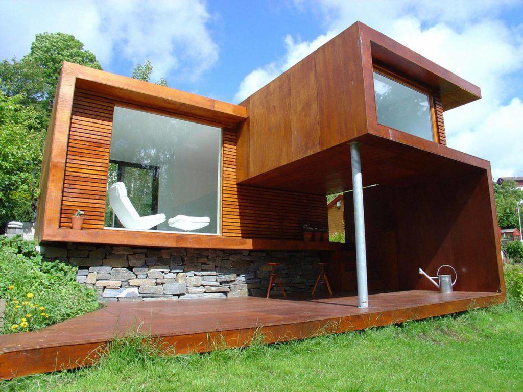Arquitetura moderna marca casa de madeira.