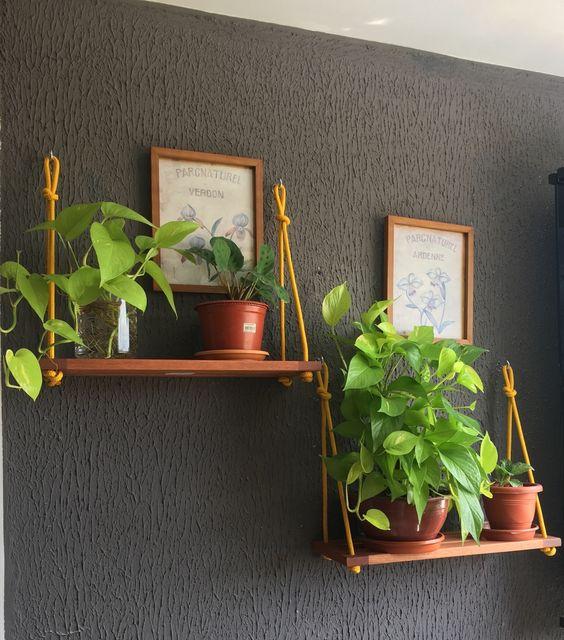 Duas prateleiras suspensas com dois vasos de planta cada e um quadrinho.
