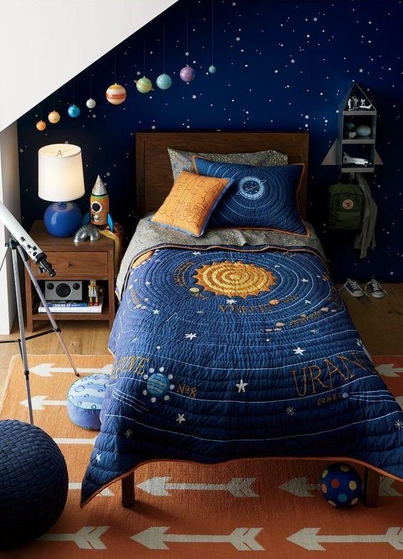 Decoração de quarto com papel de parede de estrelas e roupa de cama com o sistema solar.