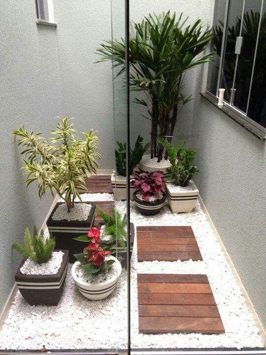 Pequeno jardim com vasos de plantas