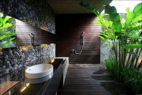 Banheiro com jardim interno.