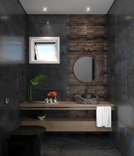 Banheiro com pedra.