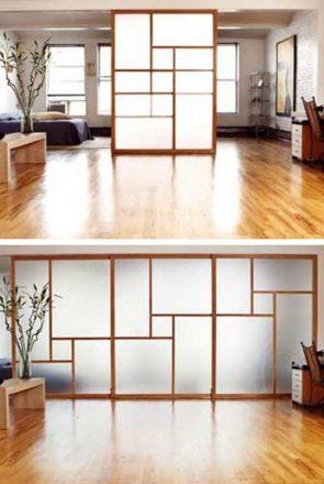 Porta japonesa de vidro jateado.