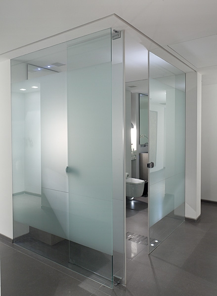 Banheiro com paredes de vidro.
