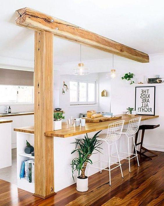 cozinha americana rustica com sala de jantar