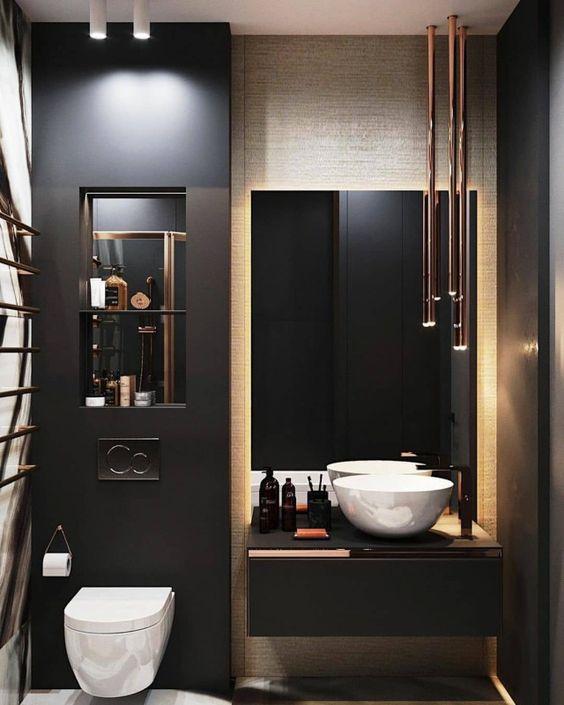 banheiro masculino preto moderno