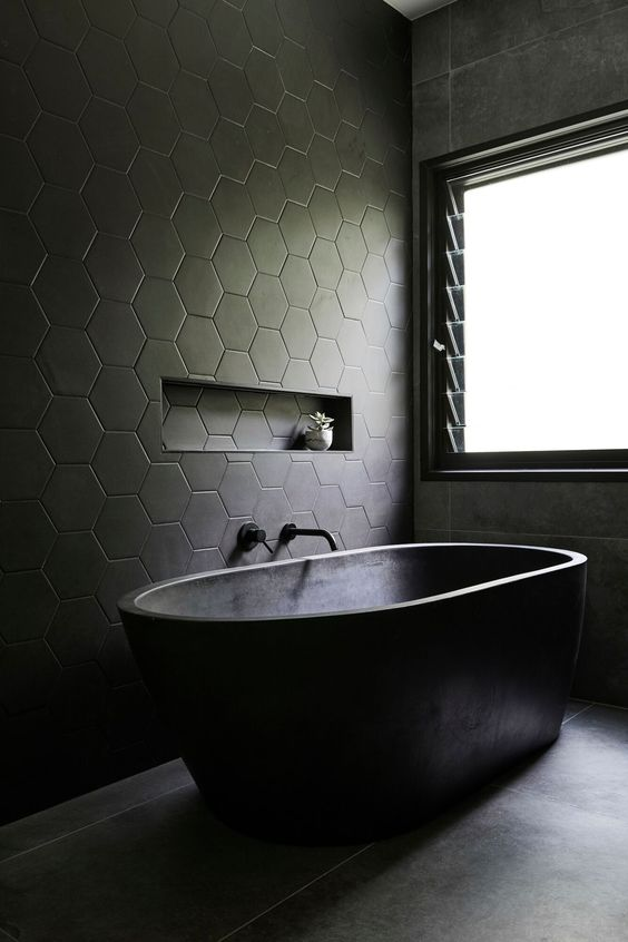 banheira de imersão em cimento queimado