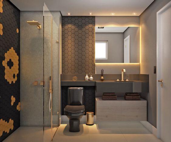 banheiro masculino moderno cinza, preto e amarelo