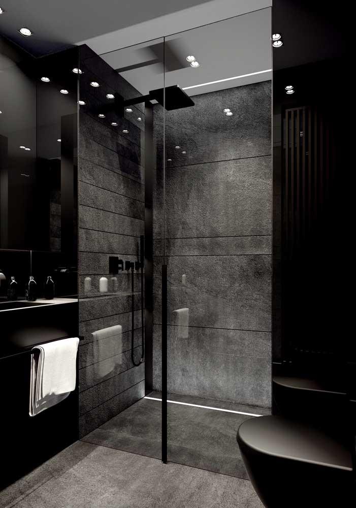 Banheiro c masculino cinza grafite e preto