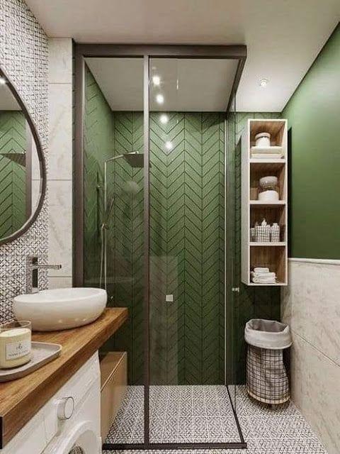 banheiro moderno com mistura de padronagens