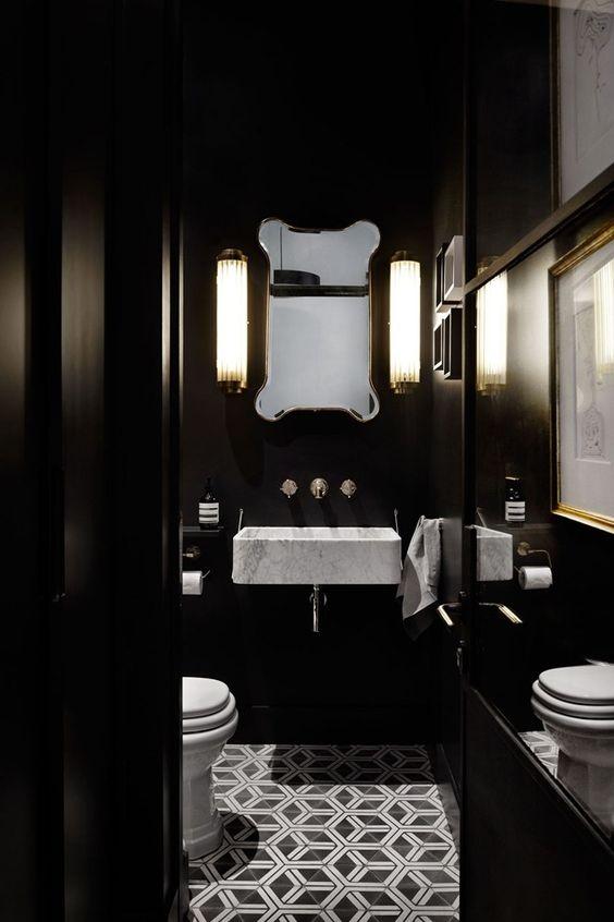 Projeto de banheiro preto com detalhes em branco