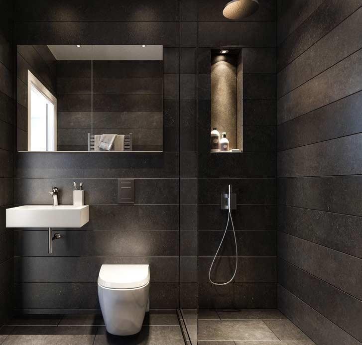 Banheiro revestido com pedra laminada fosca grafite