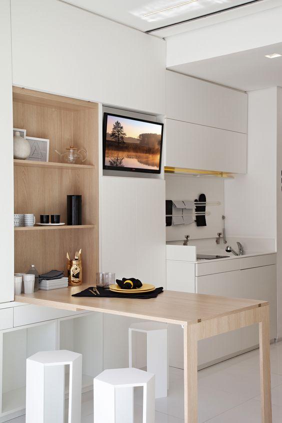mesa de cozinha que vira armário, cozinha pequena