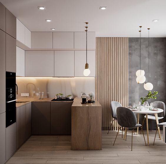 sala de jantar com parede cimento queimado e madeira.
