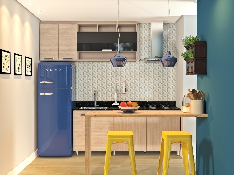 Decoração moderna com baqueta amarela e geladeira azul.