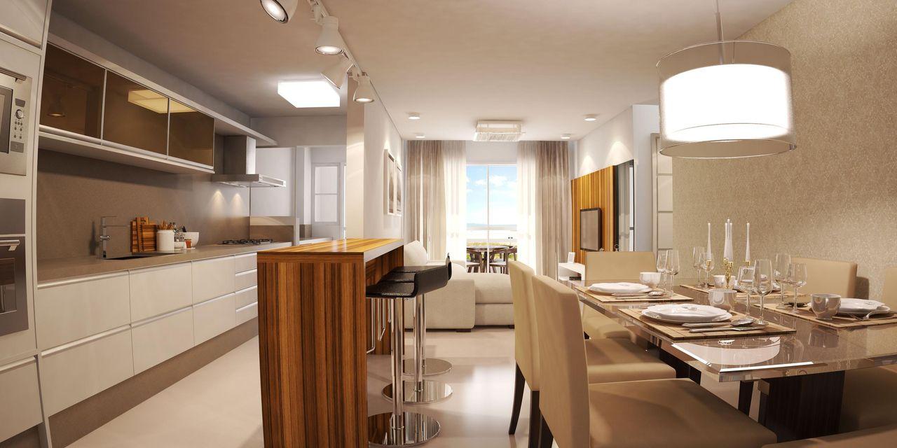 Cozinha americana com sala e decoração simples e elegante.