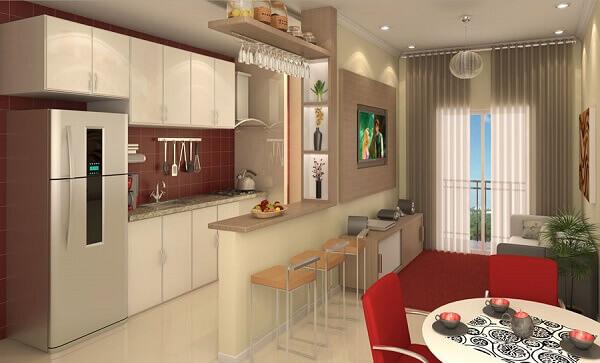 Cozinha americana simples com azulejo vermelho.
