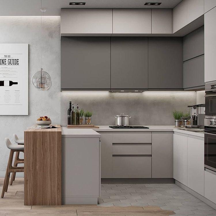 Decoração minimalista com armário cinza e parede de cimento queimado.