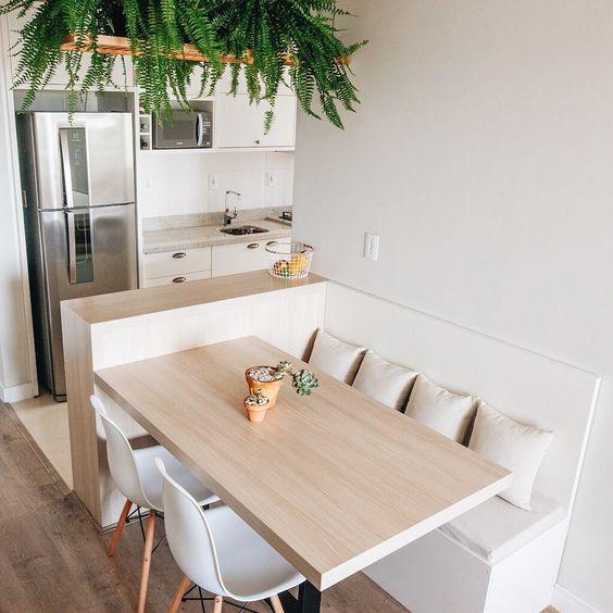 cozinha americana com sala de jantar pequena