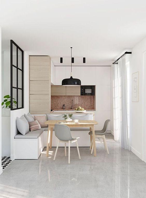 cozinha americana com sala de jantar moderna em cinza e branco