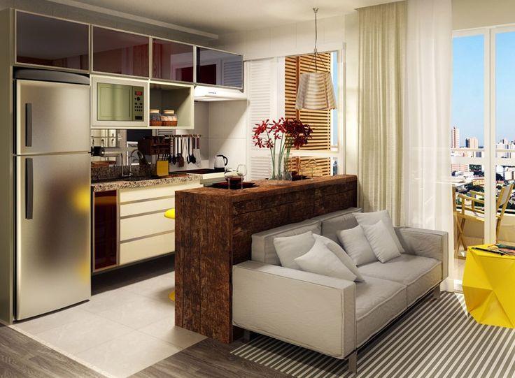 sala e cozinha integradas pequenas