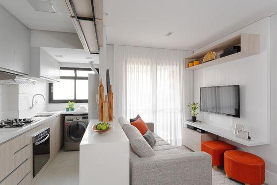 sala de estar e cozinha americana pequenos