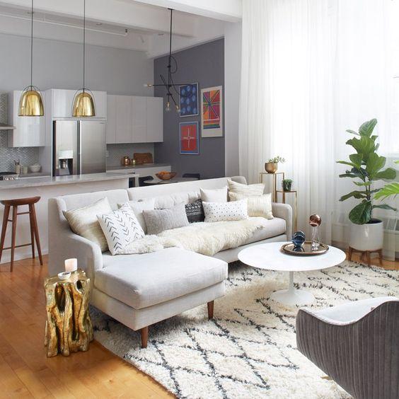 cozinha americana com sala de estar simples cinza