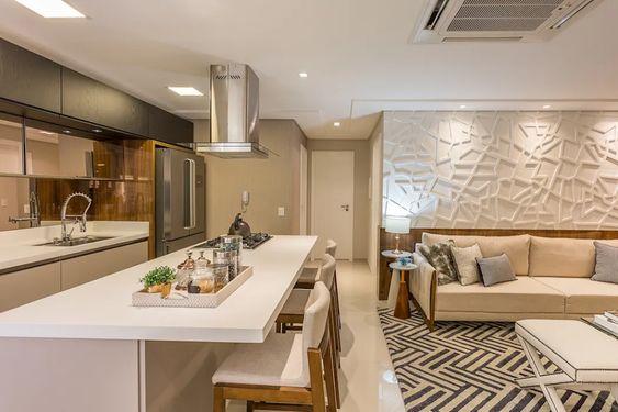 cozinha com ilha em silestone