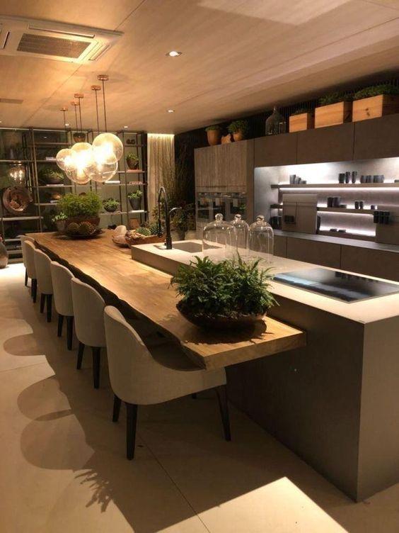 cozinha americana com sala de jantar clássica