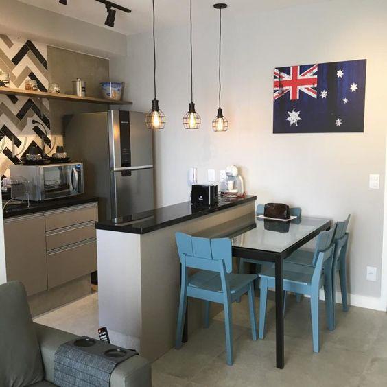 cozinha americana pequena com sala de jantar