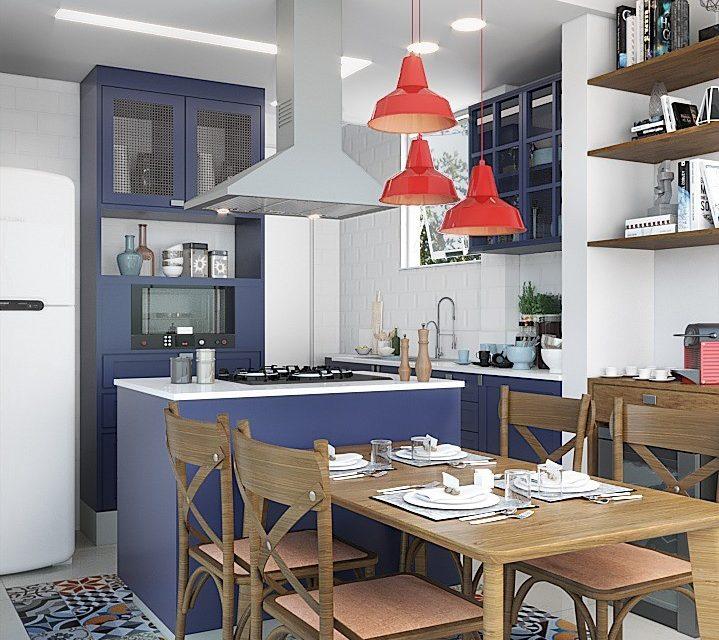 cozinha americana com ilha e pendentes coloridos