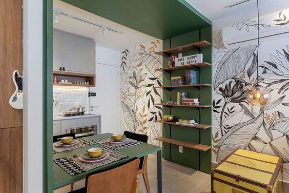 cozinha americana com sala de refeições verde e branca
