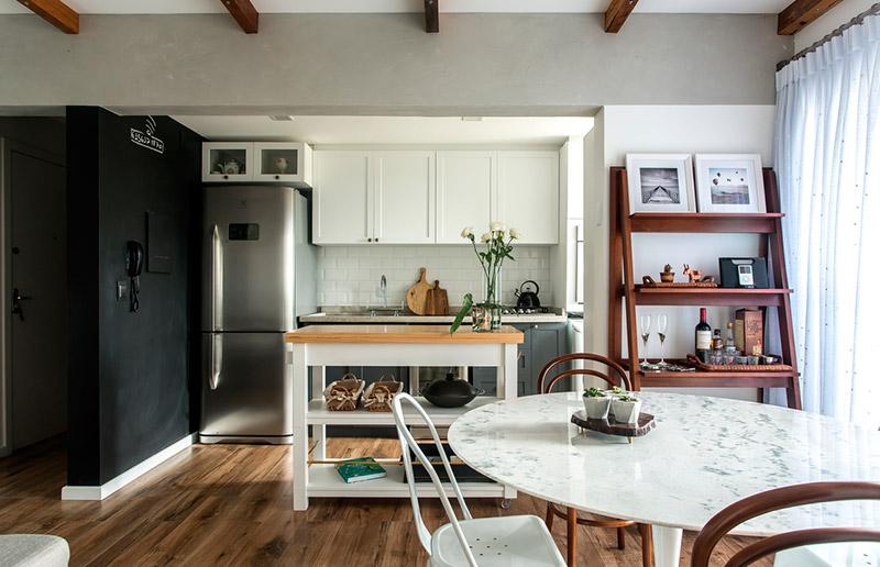 cozinha americana com sala de jantar rústica