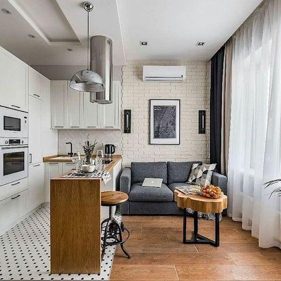cozinha com sala pequena cinza