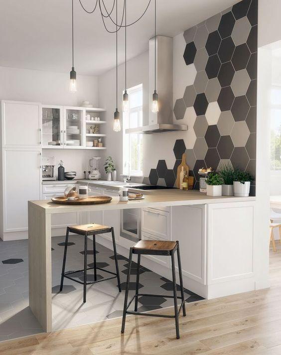 azulejos oitavados em cozinha industrial