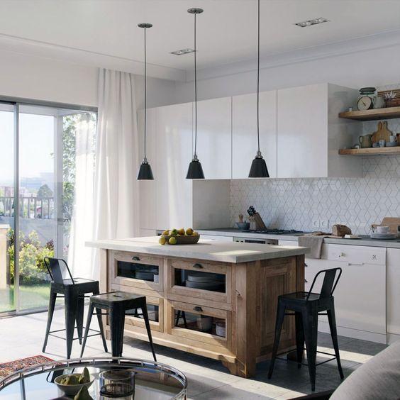 cozinha americana com ilha móvel de madeira