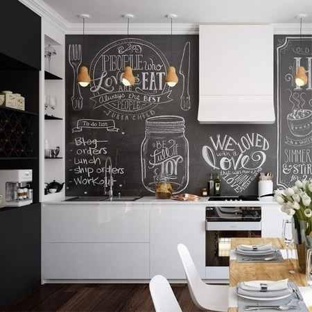 parede lousa preta e armário brancos