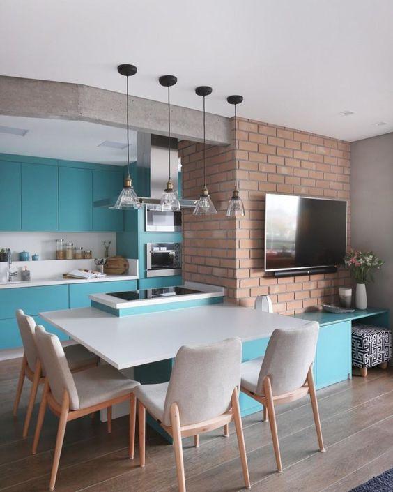 cozinha azul turquesa americana industrial