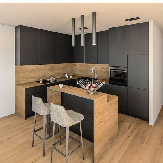 cozinha em l moderna de madeira
